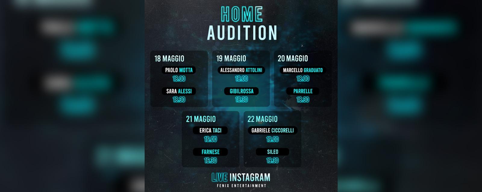 INIZIANO LE HOME AUDITION IL 18 MAGGIO